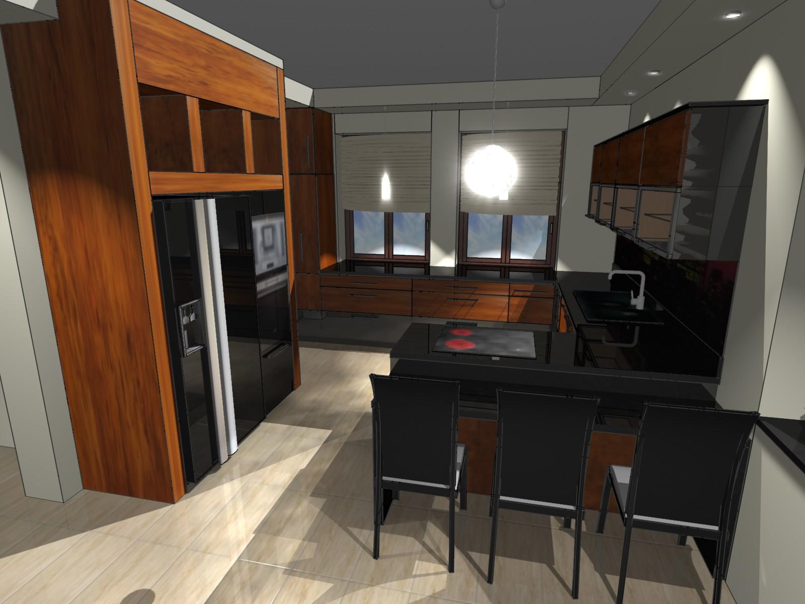 Kuchnia nowoczesna #1  Emka Studio -> Kuchnia Fornir Palisander
