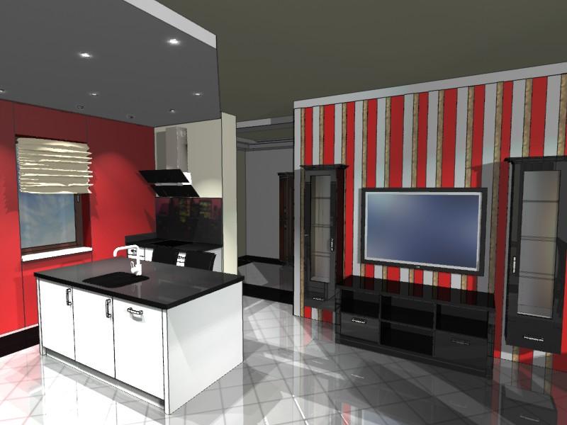 Nowoczesna kuchnia i salon  Emka Studio -> Salon Kuchni Rumia