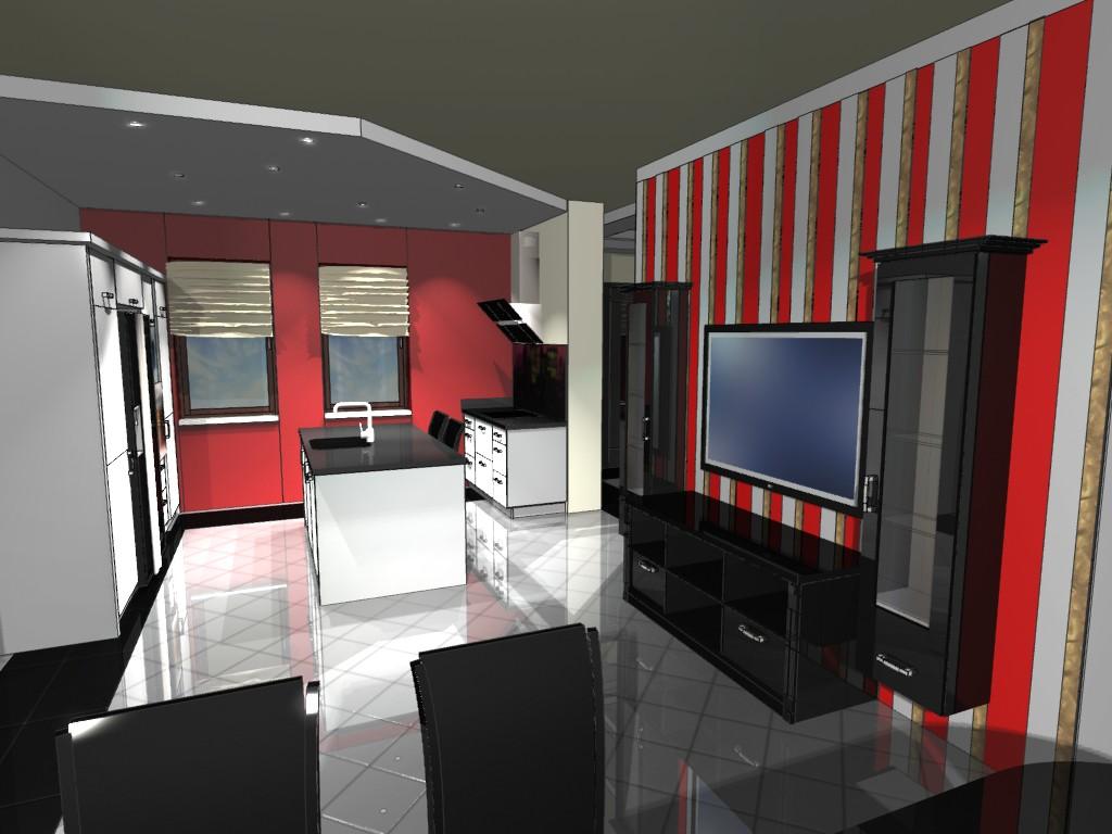 Nowoczesna kuchnia i salon  Emka Studio