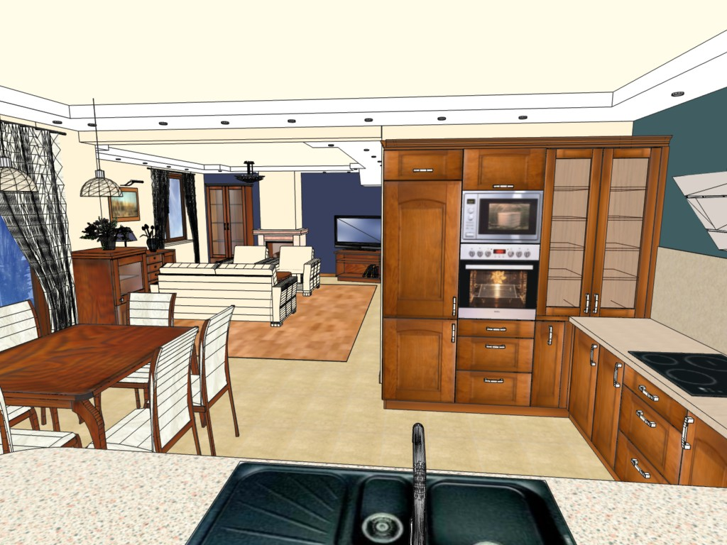 Klasyczna kuchnia i salon  Emka Studio